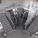 CCTV Image of a office staircase at night